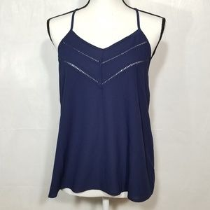 Paper Crane Small Sleeveless V Neck Blue Tank Top